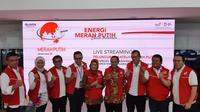 Live streaming satelit Merah Putih dari Telkom Indonesia di Jakarta, Selasa (7/8/2018). Liputan6.com/ Agustinus Mario Damar