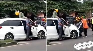 Viral Kecelakaan di Pasuruan, Pengendara Motor Mendarat di Atas Mobil