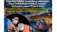 Brosur ajakan menghadiri  Launching Makassar Jazz Festival oleh Menparekraf Sandiaga Uno (Liputan6.com/Istimewa)