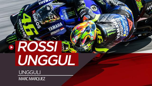 Berita video pembalap Monster Energy Yamaha, Valentino Rossi, mengungguli rider Repsol Honda, Marc Marquez, pada hari kedua tes MotoGP di Sepang, Malaysia, Kamis (7/2/2019).