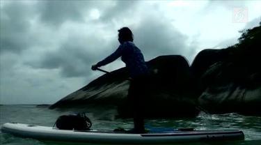 Susi Pudjiastuti mengajak anak dan cucunya melakukan paddling di perairang Natuna.