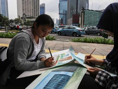 Berlatih Melukis di Bundaran HI Jakarta