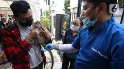 Petugas memeriksa seekor monyet saat melakukan vaksinasi antirabies terhadap hewan peliharaan di Kelurahan Rawa Jati, Jakarta, Sabtu (7/11/2020). Pemberian vaksin gratis tersebut untuk menghindari dan mengantisipasi penyebaran penyakit rabies kepada hewan peliharaan. (merdeka.com/Imam Buhori)