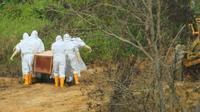 Petugas memakamkan pasien Covid-19 di pemakaman Kelurahan Juata Laut, Tarakan.