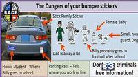 Pihak kepolisian memperingatkan bahaya stiker `My Family` di mobil.