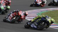 Aksi Valentino Rossi di MotoGP Argentina (Juan Mambromata/AFP)
