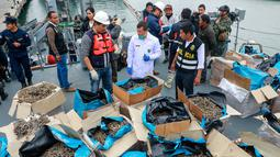 Petugas memeriksa kuda laut yang disita dari sebuah kapal di Pelabuhan Callao, Peru, Senin (30/9/2019). Pejabat Peru mengatakan kuda laut tersebut diambil secara ilegal dari perairan Samudra Pasifik. (Peruvian Ministry of Production/AFP)