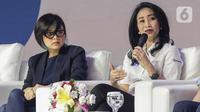 Direktur Konsumer BRI, Handayani (kanan) memberikan paparan saat menjadi pembicara dalam BRILIANPRENEUR 2019 di JCC, Jakarta, Sabtu (21/12/2019). Handayani mengatakan, BRI mendorong produk UMKM dalam negeri bisa bersaing di pasar global agar bisa diekspor. (Liputan6.com/Faizal Fanani)