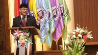 Saat orasi ilmiah di Universitas Gunadarma, Depok, Jawa Barat, Minggu (6/6/2021), Menko PMK Muhadjir Effendy sampaikan riset perguruan tinggi bantu percepat penanganan COVID-19. (Dok Kemenko PMK)