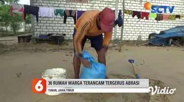 Kerusakan parah menimpa rumah warga di pesisir utara Desa Margosuko, Kabupaten Tuban, Jawa Timur, akibat diterjang ombak besar. Pondasi bangunan rumah juga menggantung, akibat habis terkikis ombak laut. Tak hanya itu, sekitar 30 bangunan warga teranc...