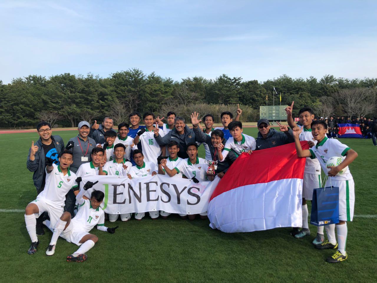Timnas Indonesia U-16 meraih gelar juara turnamen Jenesys di Jepang. Di babak final, Timnas Indonesia U-16 mengalahkan Vietnam U-16 dengan skor 1-0, Senin (12/3/2018) di Kirishima Yamazakura Miyazaki Prefectural Comprehensive Sports Park. (Dok: PSSI)