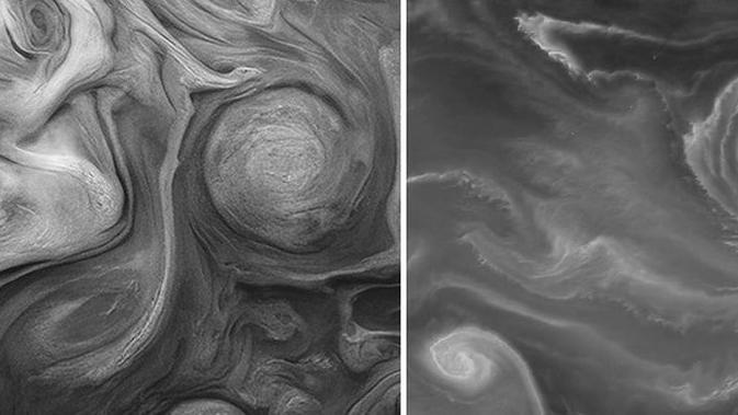 Foto Jupiter (kanan) dan Bumi (kiri). (NASA/Lansat-8/JunoCam)