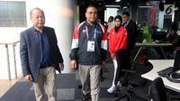 CDM Asian Games 2018, Komjen Pol Syafruddin dan Atlet Taekwondo Defia Rosmaniar saat berkunjung ke SCTV, Senayan City, Jakarta, Senin (20/8). Kunjungannya tersebut untuk melakukan wawancara. (Liputan6.com/Johan Tallo)