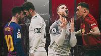 Ilustrasi - Pemain Real Madrid-Barcelona dan Manchester United-Liverpool (Bola.com/Adreanus Titus)
