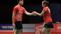 Praveen Jordan/Melati Daeva Oktavianti mengalahkan ganda China, Xiangyu Ren/Chaomin Zhou, 21-13, 21-19, pada babak pertama Malaysia Masters 2019 di Axiata Arena, Rabu (16/1/2019). (PBSI)