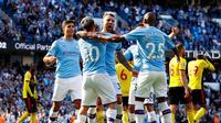 Para pemain Manchester City merayakan gol Nicolas Otamendi ke gawang Watford di Etihad Stadium, Sabtu (21/9/2019) (Foto: Premier League)