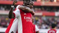 Bukayo Saka menjadi aktor kemenangan Arsenal atas Tottenham Hotspur dalam lanjutan Liga Inggris 2021/2022. (AP Photo/Frank Augstein)