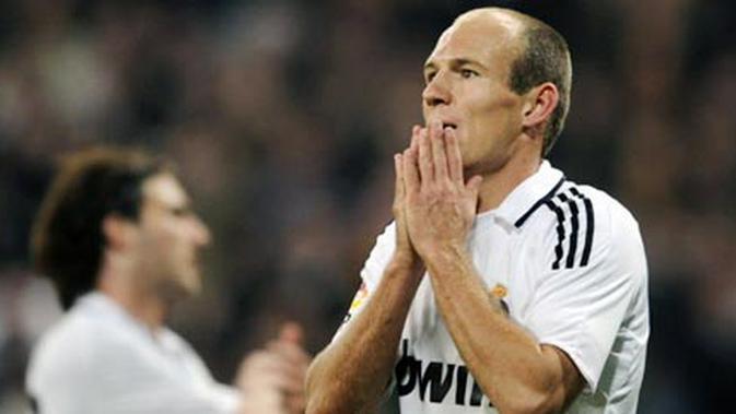 Arjen Robben ketika masih membela Real Madrid. (AFP/Pierre-Philippe Marcou)