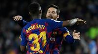 Bersama Lionel Messi, Ansu Fati disebut-sebut bisa menjadi duet yang sangat mematikan di lini serang Barcelona musim ini. (AFP/Lluis Gene)