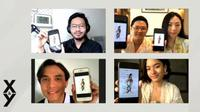 Angga Anugrah Putra (Head Of User & Content Operations at TikTok), Jason Iskandar (Sutradara Film X&Y), Florance Giovani (Produser Film X&Y), Jourdy Pranata (Cast Omar) dan Arawinda Kirana (Cast Winda) dalam acara peluncuran film X&Y, Senin (29/3). (Dok. TikTok Indonesia)
