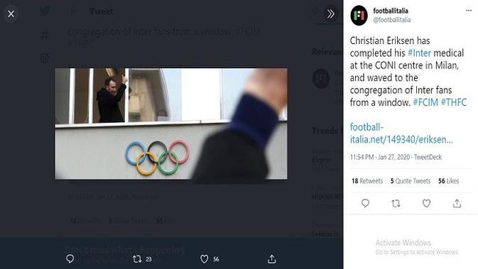 Gambar Tangkapan Layar Cuitan dari Akun Twitter @footballitalia.