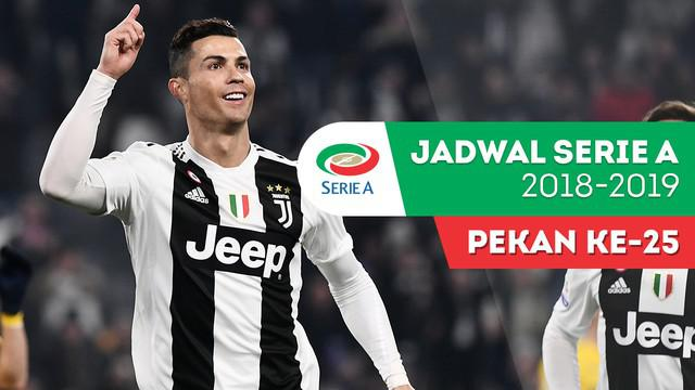 Berita video jadwal Serie A 2018-2019 pekan ke-25. Juventus bertandang ke markas Bologna, Minggu (24/2/2019).