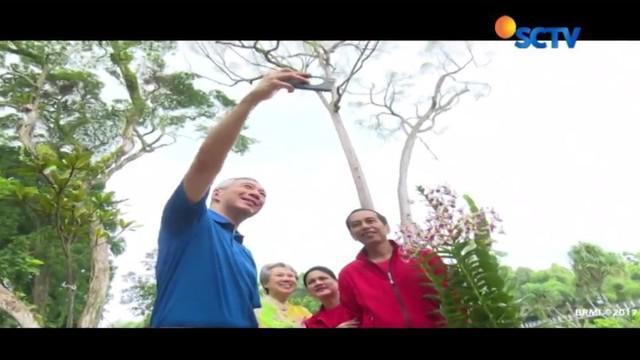 Setelah menanam pohon, Jokowi dan Lee bersama rombongan menyempatkan jalan pagi di Singapore Botanical Garden.