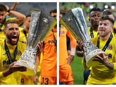 Kesuksesan Villarreal memboyong trofi Liga Eurpa 2020/2021 tidak terlepas dari peran para pemain yang pernah berkiprah di Premier League. Tercatat ada lima alumnus Premier League di balik kesuksesan tersebut. Siapa saja mereka? (Kolase Foto AFP)