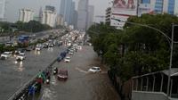 Banjir di Jalan Gatot Subroto, Jakarta. (Ist)