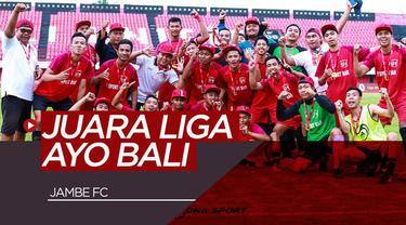 Berita video Jambe FC keluar sebagai juara Pertamax Liga Ayo Bali setelah pada partai final mengalahkan Kupang FC 3-2 di kandang Bali United, Stadion Kapten I Wayan Dipta, Gianyar, Minggu (30/6/2019).