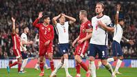 Timnas Inggris harus puas bermain imbang 1-1 kontra Hungaria pada laga lanjutan Grup I kualifikasi Piala Dunia 2022 zona Eropa di Stadion Wembley, Rabu (13/10/2021) dini hari WIB. (AFP/Ben Stansall)