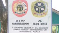 TK dan SMP Darma Cahya Purnama, serta SMK Krida Taruna di Tanjung Lesung.