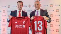 Liverpool memperpanjang kerja sama dengan Standard Chartered dengan durasi empat tahun yang membuat keduanya bakal melanjutkan partnership sampai musim 2022-2023. (dok. Liverpool)