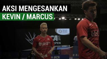 Berita video aksi Kevin Sanjaya dan Marcus Gideon saat melawan pasangan Denmark di babak pertama Indonesia Open 2017.
