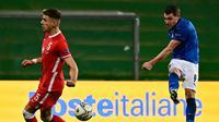 Penyerang Timnas Italia, Andrea Belotti, saat berhadapan dengan Polandia pada laga kelima Grup 1 Liga A UEFA Nations League 2020/2021, di Mapei Stadium, Senin (16/11/2020) dini hari WIB. (AFP/MIGUEL MEDINA)