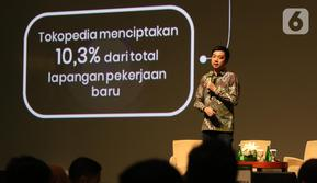CEO & Co-Founder Tokopedia, William Tanuwijaya saat kemberikan paparan kepada media di Jakarta, Kamis (10/10/2019). Dalam kesempatan tersebut membahas dampak Tokopedia terhadap perekonomian Indonesia. (Liputan6.com/Angga Yuniar)