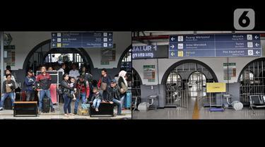 Foto kombo menunjukkan suasana arus mudik H-2 Idul Fitri 2019 (kiri) dan H-2 Idul Fitri 2020 (kanan) di Stasiun Pasar Senen, Jakarta, Jumat (22/5/2020). Larangan mudik bagi warga Jakarta karena pandemi COVID-19 menyebabkan pemandangan kontras di Stasiun Pasar Senen. (merdeka.com/Iqbal S. Nugroho)