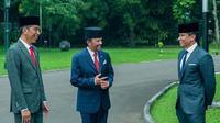 Dengan setelan jas rapi dan peci di atas kepala, Pangeran Mateen terlihat sedang bercengkrama dengan Presiden Jokowi sambil ditemani sang ayah (Instagram/@tmski)
