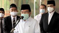 Ketua Dewan Masjid Indonesia Jusuf Kalla berharap masjid jadi tempat pelaksanaan vaksinasi COVID-19 secara massal tingkat RT/RW di Balai Kota, Jakarta, Rabu (17/3/2021). (Dok Tim Komunikasi Jusuf Kalla)