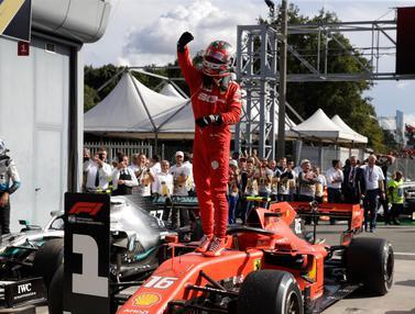 Selebrasi Charles Leclerc Usai Menangkan F1 GP Italia 2019