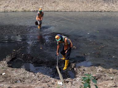 Pekerja dari UPK Badan Air Dinas Kebersihan DKI Jakarta mencangkul endapan lumpur di salah satu sisi Kali Cideng kawasan Epicentrum Kuningan, Jakarta, Kamis (20/6/2019). Pencangkulan ini untuk menghilangkan endapan lumpur dan memperlancar arus air. (Liputan6.com/Helmi Fithriansyah)