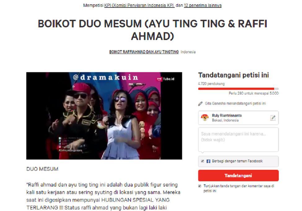 Capture Petisi Boikot Raffi Ahmad dan Ayu Ting Ting