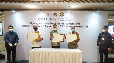 Holding BUMN Pertambangan, MIND ID telah menandatangani perjanjian definitif pembelian saham PT Vale Indonesia Tbk (PTVI)