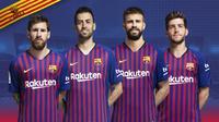 Para kapten Barcelona untuk musim 2018-2019 (dari kiri ke kanan), Lionel Messi, Sergio Busquets, Gerard Pique, dan Sergi Roberto. (dok. FC Barcelona)
