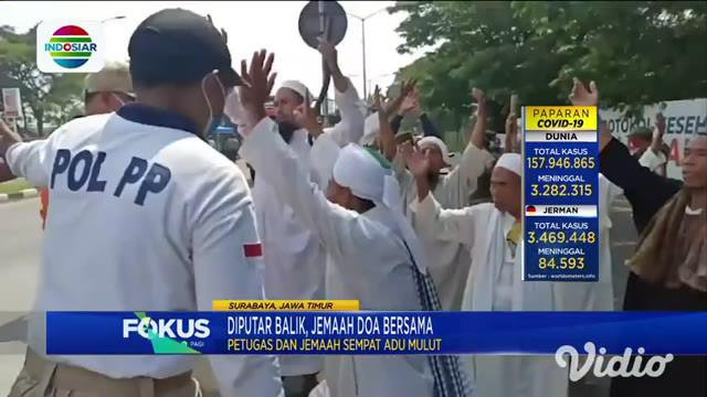 Tidak memiliki tujuan jelas masuk Kota Surabaya dan melanggar protokol kesehatan. Rombongan pengajian asal Pamekasan, Madura dipaksa petugas gabungan memutar balik usai melintasi jembatan Suramadu.