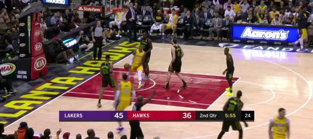 Berita video game recap NBA 2017-2018 antara LA Lakers melawan Atalanta Hawks dengan skor 123-104.