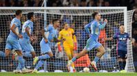 Manchester City menumbangkan RB Leipzig 6-3 dalam matchday pertama fase grup A Liga Champions di Etihad Stadium, Kamis (16/9/2021). (AFP/Oli Scraf)