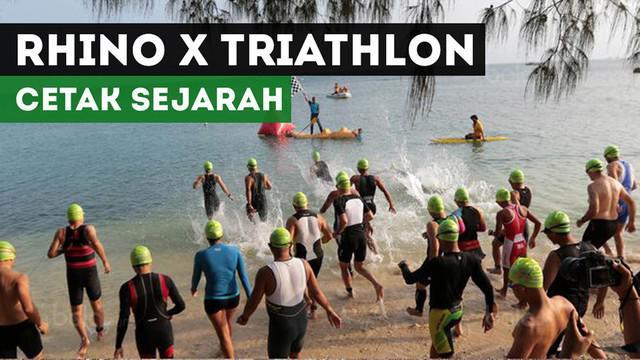 Ajang Rhino X Thiathlon di Tanjung Lesung, cetak sejarah sebagai ajang cross triathlon pertama di Indonesia.