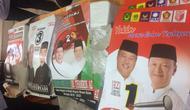 Alat Peraga Kampanye (APK) dan bahan kampanye yang sudah dibagikan ke empat paslon Pilkada Muara Enim (Liputan6.com / Nefri Inge)