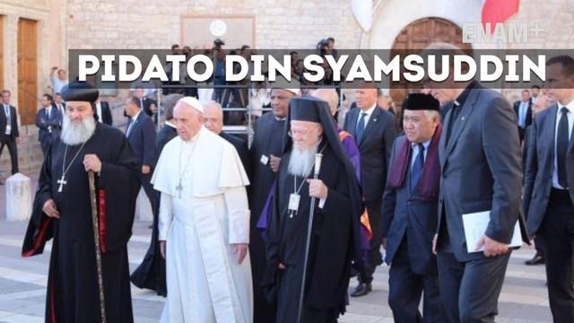 Pada pertemuan yg bersifat privat selama lima menit itu Din Syamsuddin menyampaikan harapan harmoni umat Katholik dan umat Islam. Paus Fransiscus meminta Din Syamsuddin  utk saling mendoakan.